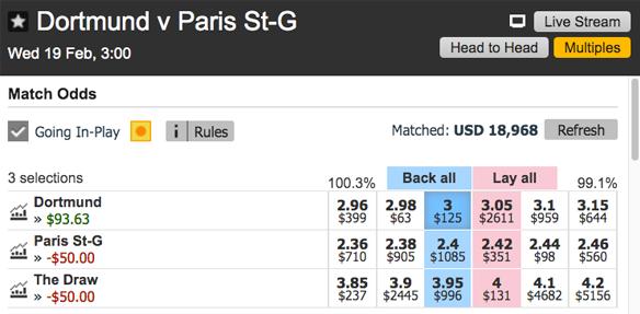 Betting Exchanges Dortmund PSG