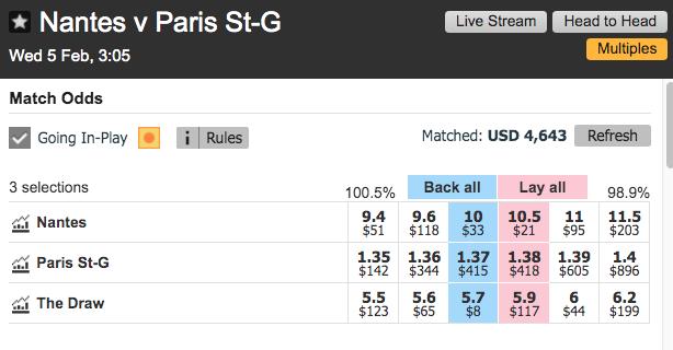 Lay The Draw - Nantes - PSG